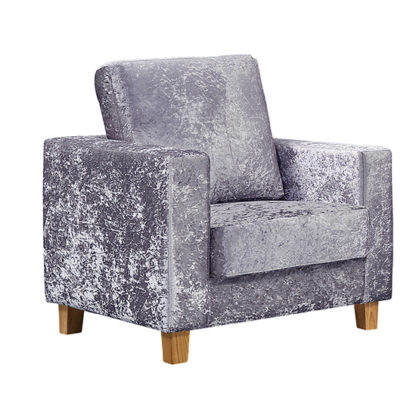 An Image of Wasp Crushed Velvet 1 Seater Sofa In Silver