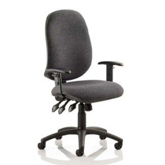 An Image of Eclipse Plus XL Office Chair In Charcoal With Adjustable Arms