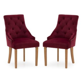 An Image of Vanille Velvet Dining Chair In Crimson With Oak Legs In A Pair