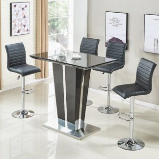An Image of Memphis Glass Bar Table In High Gloss Black And 4 Ripple Stools
