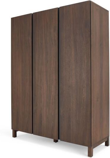 An Image of Xander Triple Wardrobe, Walnut