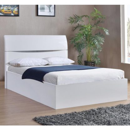 An Image of Arden Wooden Storage King Size Bed In White High Gloss