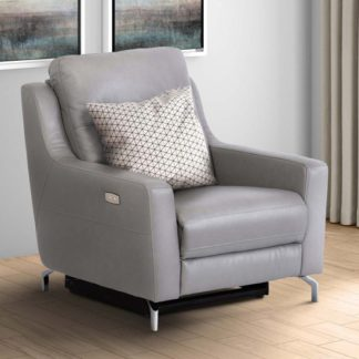 An Image of Windsor Faux Leather Electric Recliner Armchair In Grey