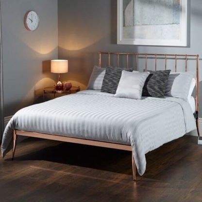 An Image of Saturn Precious Metal King Size Bed In Rose Gold