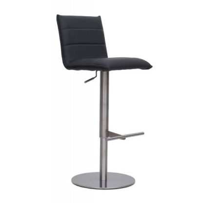An Image of Verlo Bar Stool In Grey PU With Brushed Stainless Steel Base