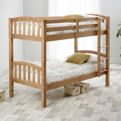 An Image of Rowley Wooden Bunk Bed In Lacquered Pine