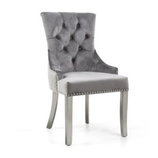 An Image of Robbyn Accent Chair In Grey Velvet With Silver Steel Legs