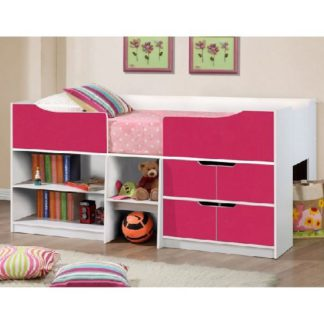 An Image of Nottingham Children Cabin Bed In White And Pink