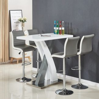 An Image of Axara Bar Table In White And Grey Gloss With 4 Ritz Grey Stools