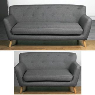 An Image of Lyrae Fabric 3 Seater Sofa And 2 Seater Sofa Suite In Dark Grey