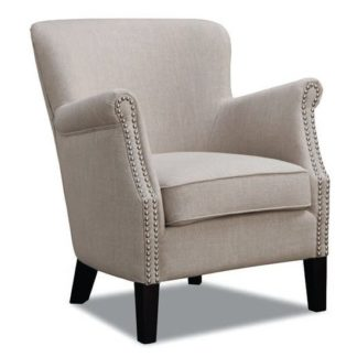 An Image of Aquarii Linen Fabric Lounge Armchair In Beige
