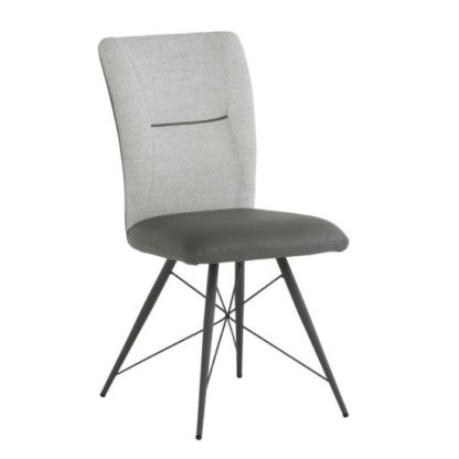 An Image of Amalfi Fabric And Pu Leather Dining Chair In Light Grey