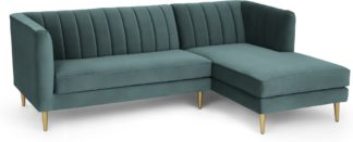 An Image of Amicie Right Hand Facing Chaise End Corner Sofa, Marine Green Velvet