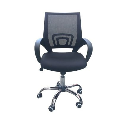 An Image of Regan Home Office Chair In Black With Mesh Back And Chrome Base