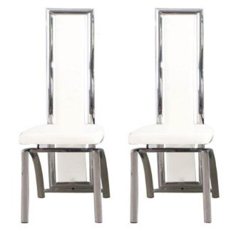An Image of Chicago White Dining Chairs In A Pair