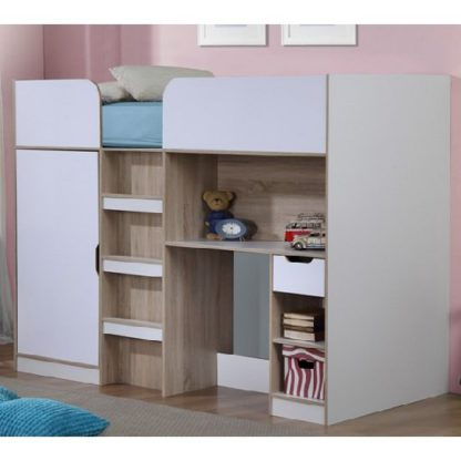 An Image of Cameo Children High Sleeper Bed In White And Oak With Storage