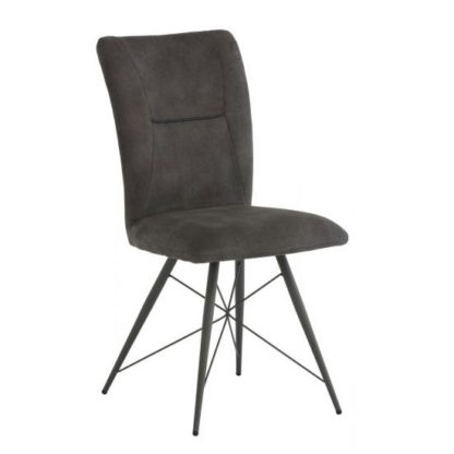 An Image of Amalfi Fabric Dining Chair In Grey
