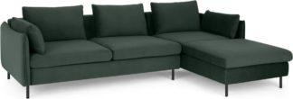 An Image of Vento 3 Seater Right Hand Facing Chaise End Corner Sofa, Autumn Green Velvet