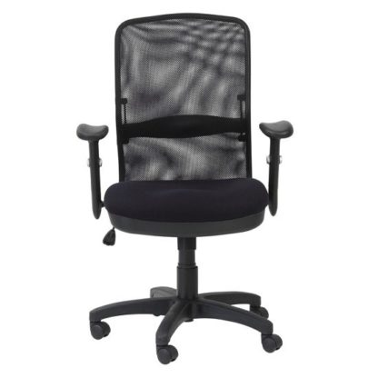 An Image of Dakota Home & Office Chair In Black With Fabric Seat
