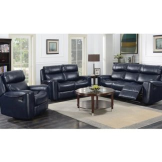 An Image of Mebsuta Leather 3 Seater Sofa And 2 Armchairs Suite In Navy