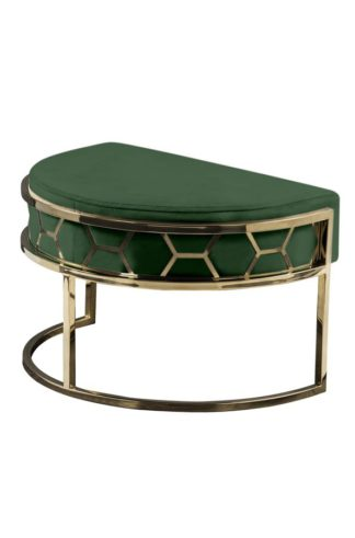 An Image of Alveare Footstool Brass -Bottle Green
