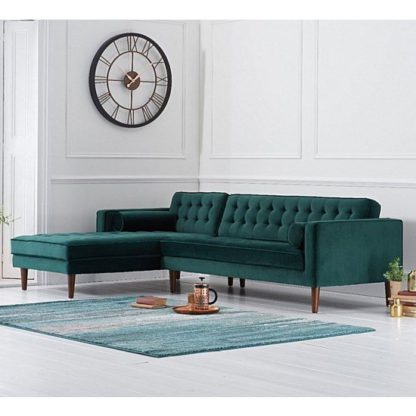 An Image of Ogma Velvet Left Facing Chaise Sofa Bed In Green