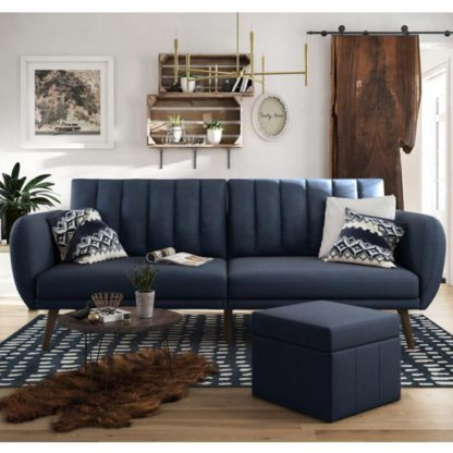 An Image of Brittany Linen Sofa Bed In Navy Blue With Wooden Legs