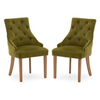 An Image of Vanille Velvet Dining Chair In Moss With Oak Legs In A Pair