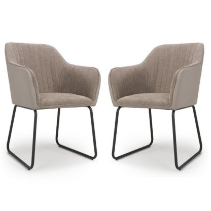 An Image of Ferrante Chennile Fabric Dining Chair In Beige Finish In A Pair