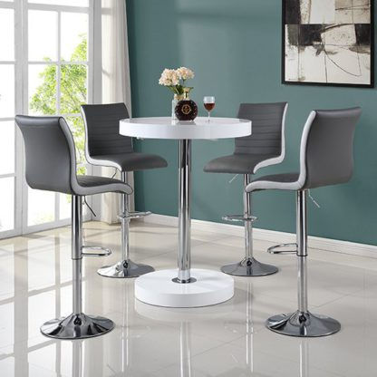 An Image of Havana Bar Table In White With 4 Ritz Grey And White Bar Stools