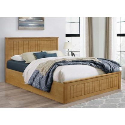 An Image of Fairmont Ottoman Wooden Double Bed In Oak