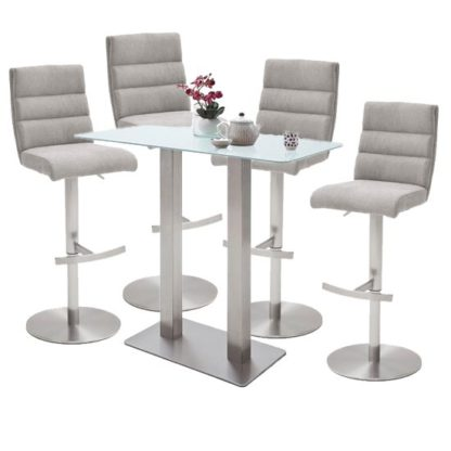 An Image of Soho White Glass Bar Table With 4 Hiulia Ice Grey Fabric Stools