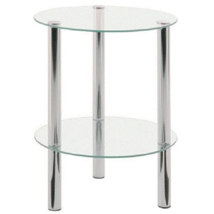 An Image of 2 Tier Clear Glass Table With Chrome Legs