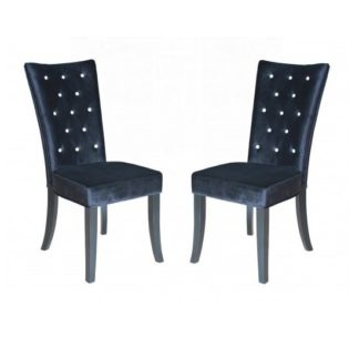 An Image of Belfast Dining Chair In Crushed Black Velvet in A Pair
