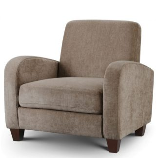 An Image of Hampshire Fabric Sofa Chair In Mink Chenille With Wooden Feet