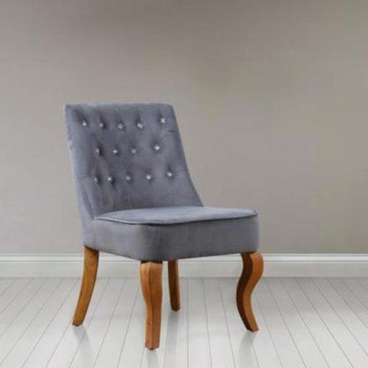 An Image of Darcey Febric Bedroom Chair In Grey