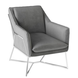 An Image of Lara Velvet Fabric Lounge Chair In Silver Grey