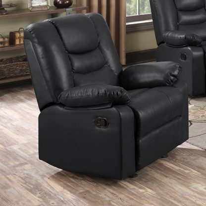 An Image of Gruis LeatherGel And PU Recliner 1 Seater Sofa In Black