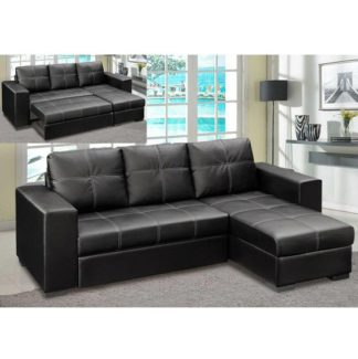 An Image of Avalon Corner Sofa Bed In Black Faux Leather With Storage