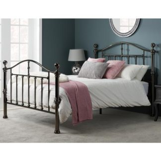 An Image of Victoria Steel King Size Bed In Black Nickel