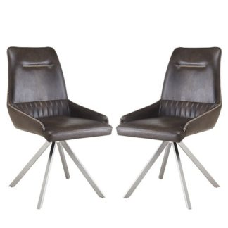 An Image of Crate Modern Dining Chair In Woodland Brown Leather In A Pair