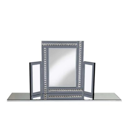 An Image of Elena Dressing Table Mirror In Silver With Smoke Crystals