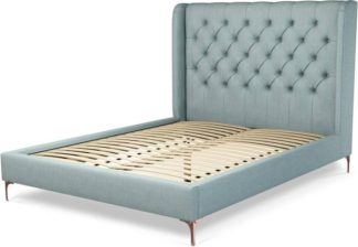 An Image of Custom MADE Romare King size Bed, Sea Green Cotton with Copper Legs