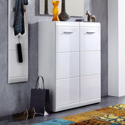 An Image of Adrian Wall Mount Shoe Cabinet In White With High Gloss Fronts