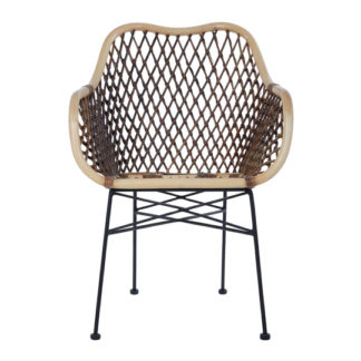 An Image of Hunor Natural Rattan Chair With Iron Legs