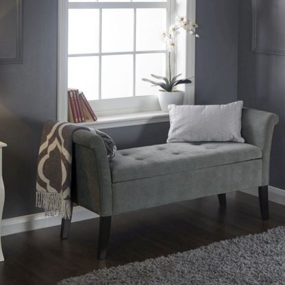 An Image of Keswick Ottoman Seat In Grey Chenille Fabric With Dark Legs