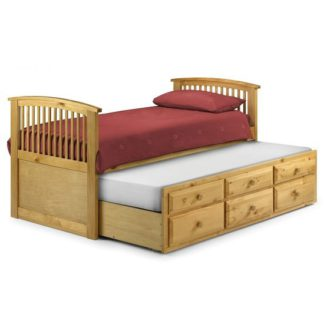 An Image of Uplander Wooden Single Bed In Antique Pine Lacquered