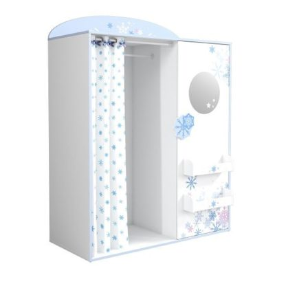 An Image of Curtis Wardrobe In Pearl White With Blue Trims And Curtain