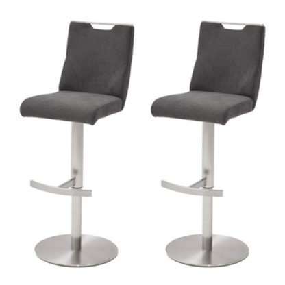 An Image of Jiulia Anthracite Fabric Bar Stool In Pair With Steel Base
