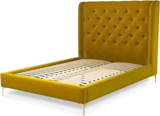 An Image of Custom MADE Romare Double size Bed, Saffron Yellow Velvet with Brass Legs